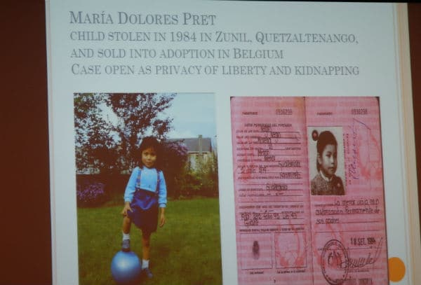 slide from Norma Cruz's keynote on adoption abduction in Guatemala