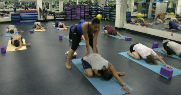 Lt. Col. Michele Spencer leads a free yoga class at Gaffney Fitness Center at Fort Meade.