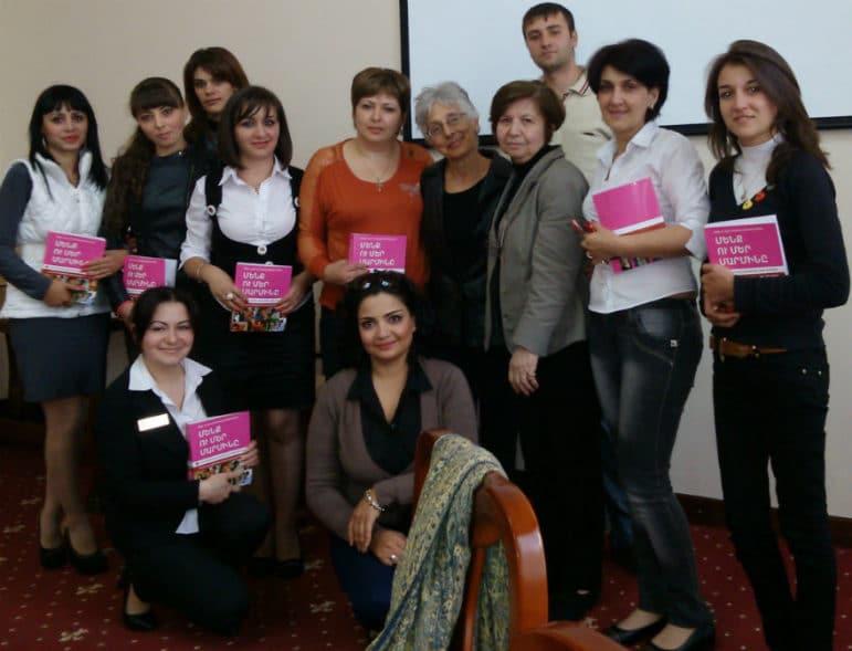 Judy Norsigian and Dr. Meri Khachikyan with Armenian activists