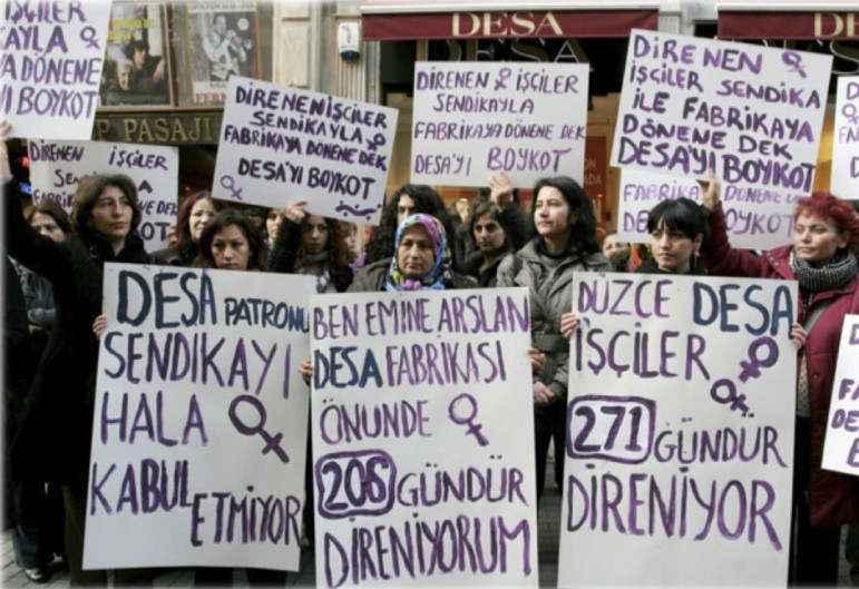 Demonstrations against DESA, Turkey's luxury leather goods manufacturer and supplier to retailers like Prada and Burberry, demanding improved working and wage conditions.