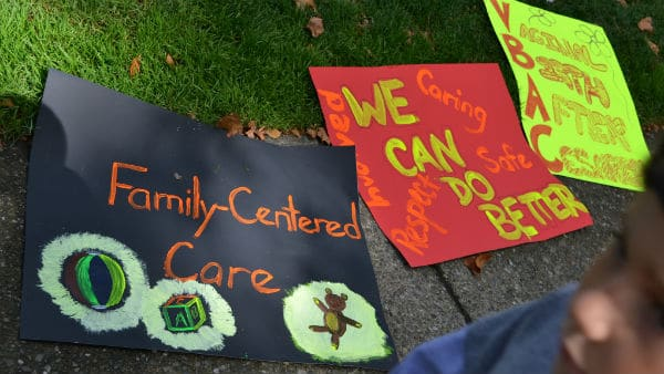 Posters at a Bay Area Rally to Improve Birth