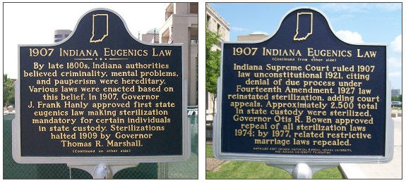 1907 Indiana eugenics law, state marker