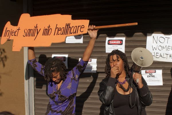 Protest outside a health center in Los Angeles that provides inaccurate information about abortion