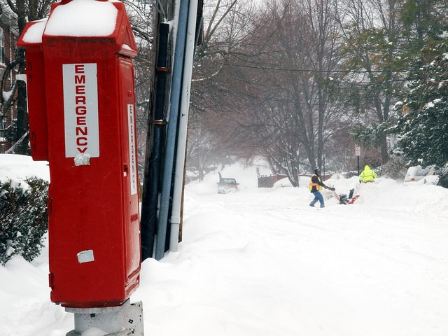 emergency box in boston snow
