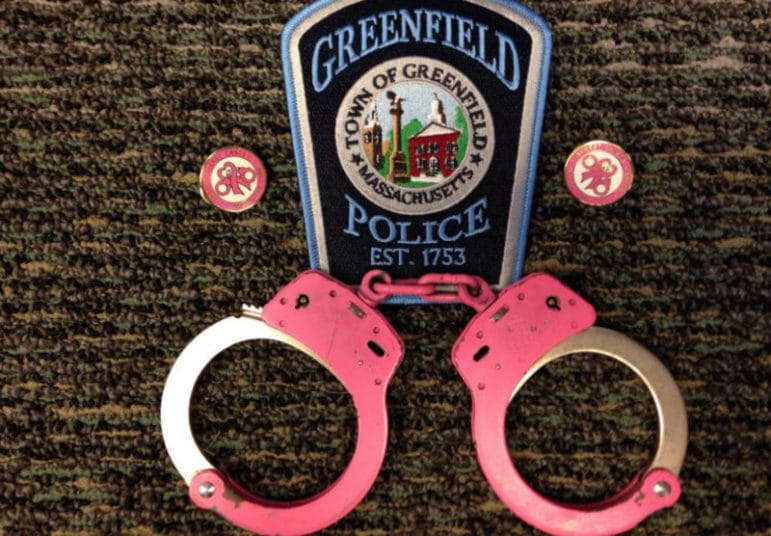 Police officers in Greenfield, Mass., are using pink handcuffs to raise awareness about breast cancer