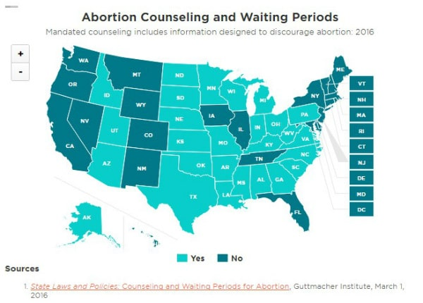 Map of abortion restrictions by state