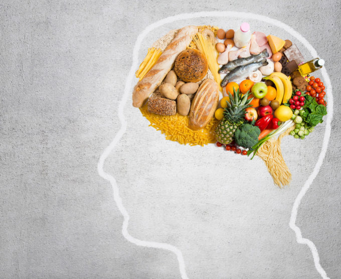 graphic of a person's brain, filled with food