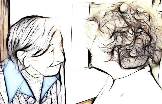 sketch of two women talking