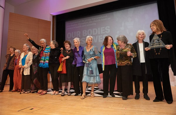 "Photo of the OBOS founders receiving an Elizabeth A. Sackler ""First Award"""
