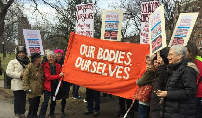 Our Bodies Ourselves banner at the March for Women's Lives, 2017
