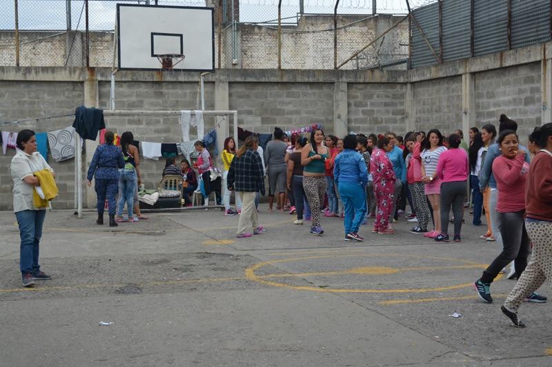Women prisoners mingling in a Colombia