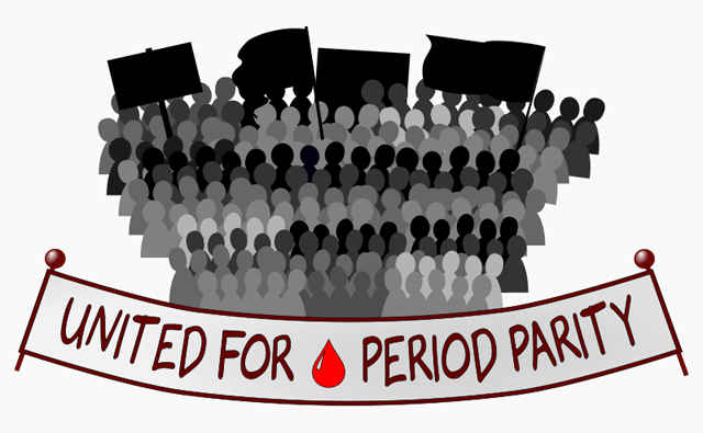 """Banner reading """"UNITED FOR 🌢 PERIOD PARITY""""."""