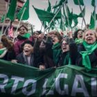 Screenshot of women in Brazil protesting for abortion rights